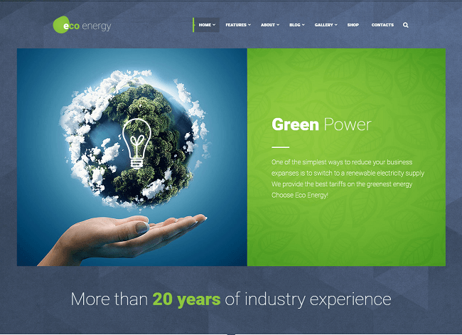 Green power wordpress theme