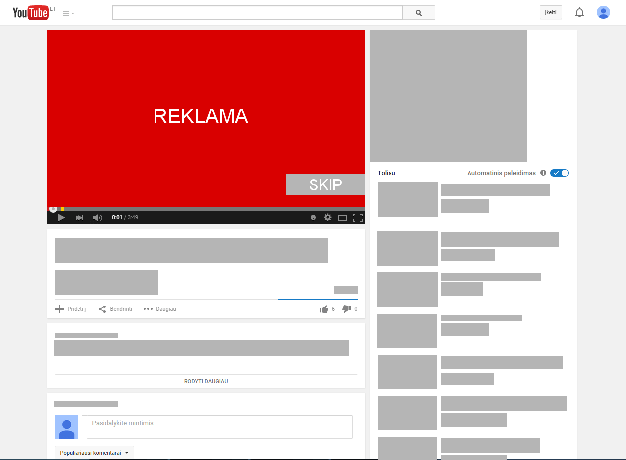 Reklama prieš video