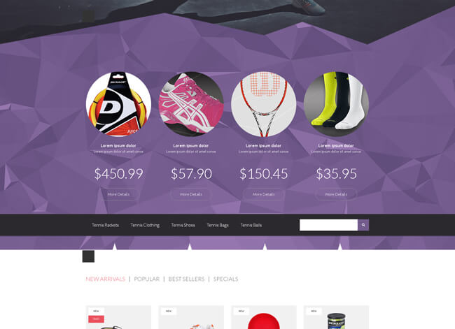 Tennis store wordpress theme