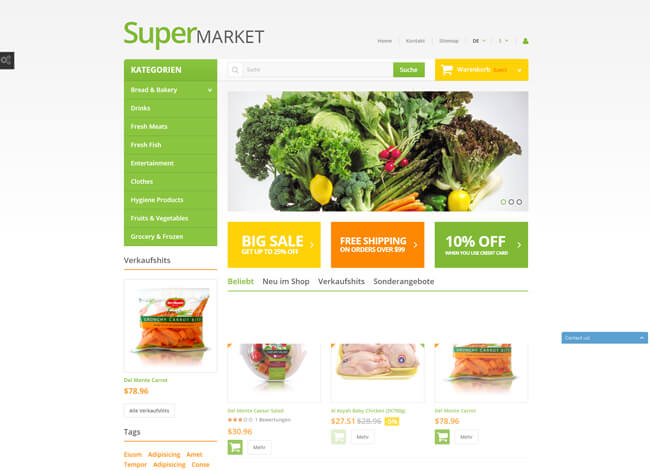 Supermarket website theme