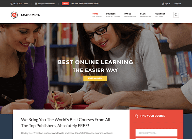 Academica - online kursu sablonas