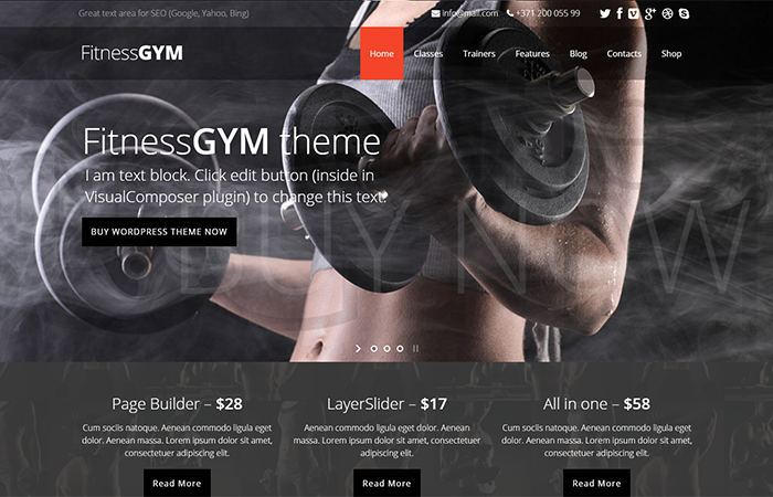 FitnessGYM WordPress theme for fitness